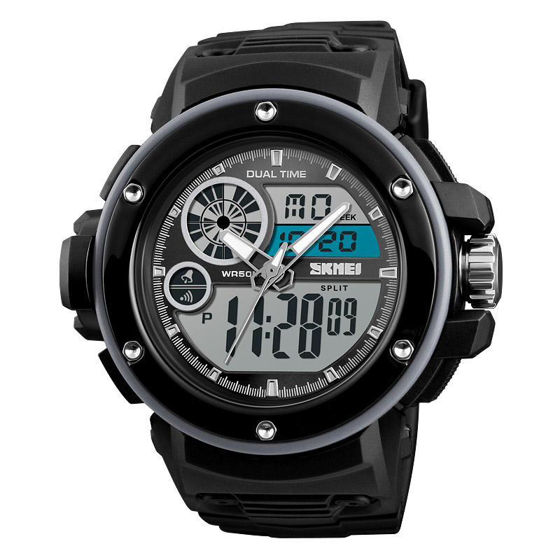 SKMEI 1341 Digital Watch Military Chronograph 2 Time 50M Waterproof Men LED Wrist Watch