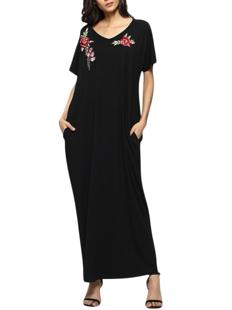 Casual Women Flower Broderie Loose Maxi Robes