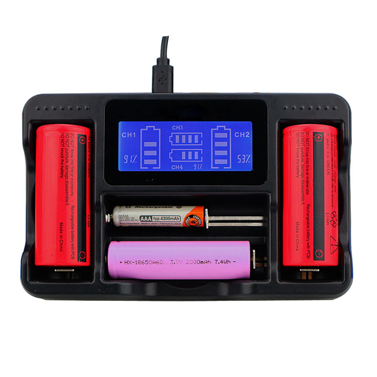 Seiwei YS-4 4 fente Lii AA AAA Ni-MH Lithium intelligente LCD 18650 22650 26650 18650 18350 14500 Chargeur de batterie rechargeable