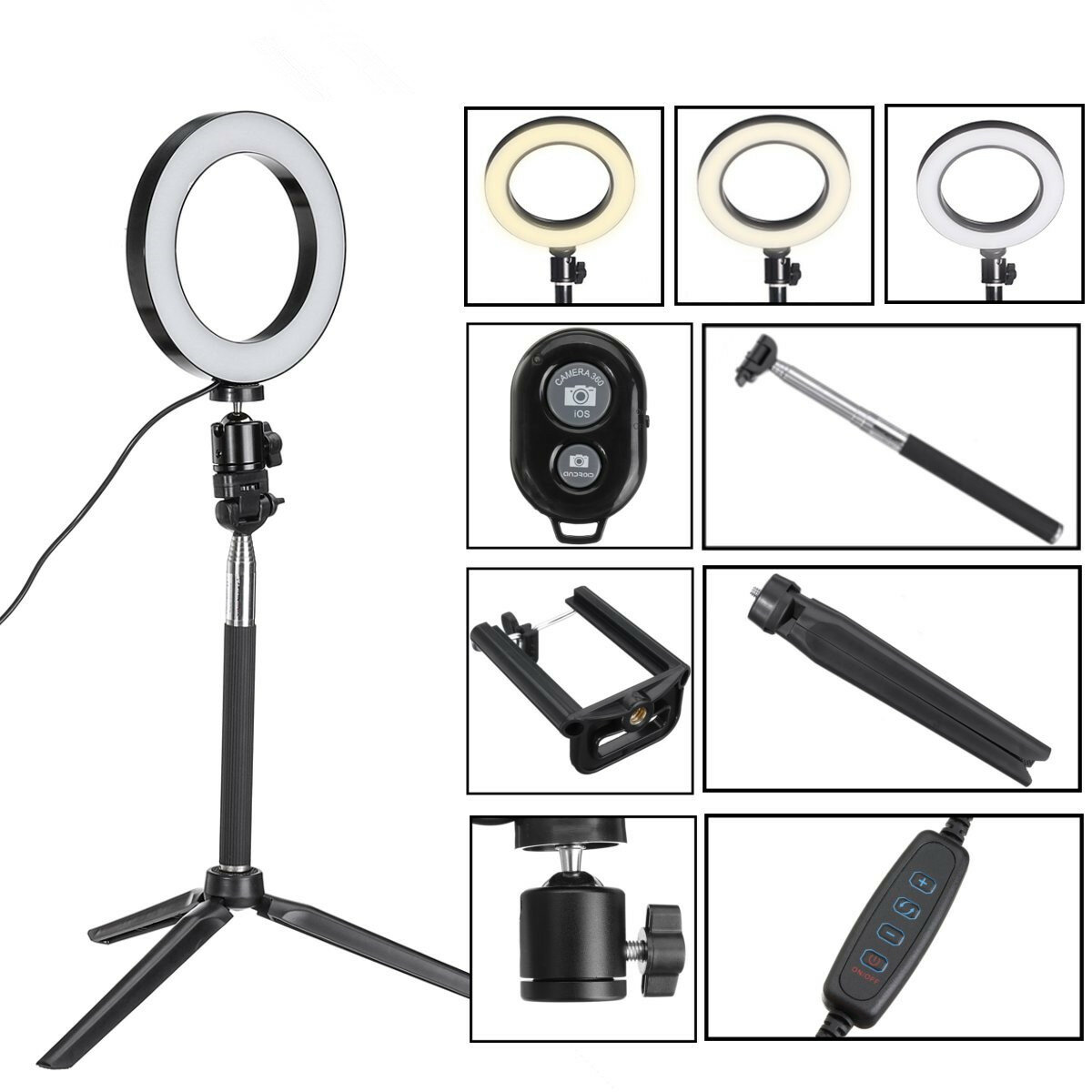 Bluetooth-Stativ Selfie-Stick mit LED-Ringfülllicht mit Standfußbeleuchtung Satz für Telefonkamera