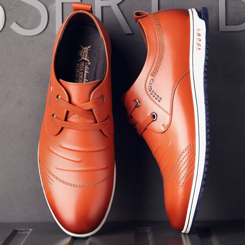 Men Pure Color Leather Non Slip Soft Casual Business Oxfords
