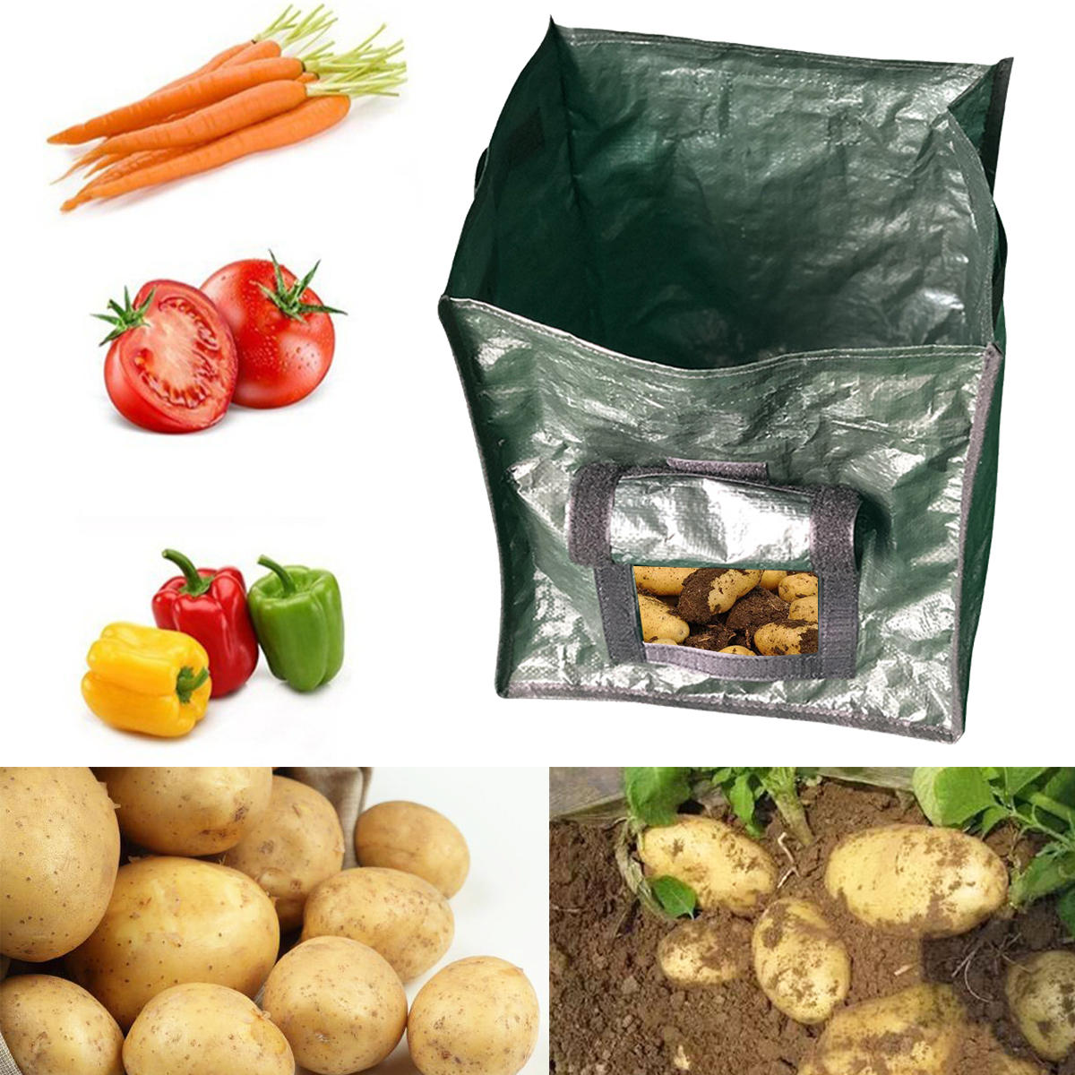 Black/Green Garden DIY Potato Grow Planting Vegetable Container Breathable Bag