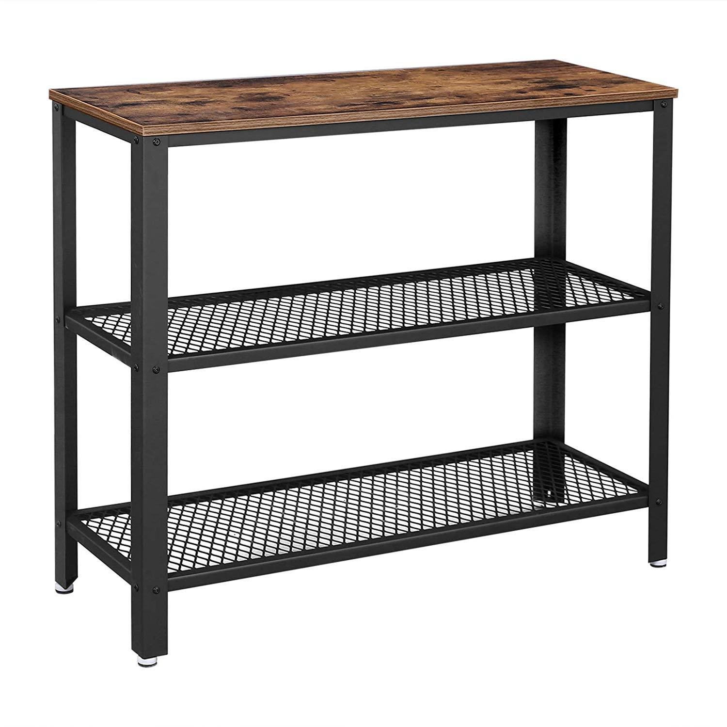 Industrial Console Table Hallway Table with 2 Mesh Storage Shelves Side Table Bookshelf Sideboard for Home Living Room Corridor Office