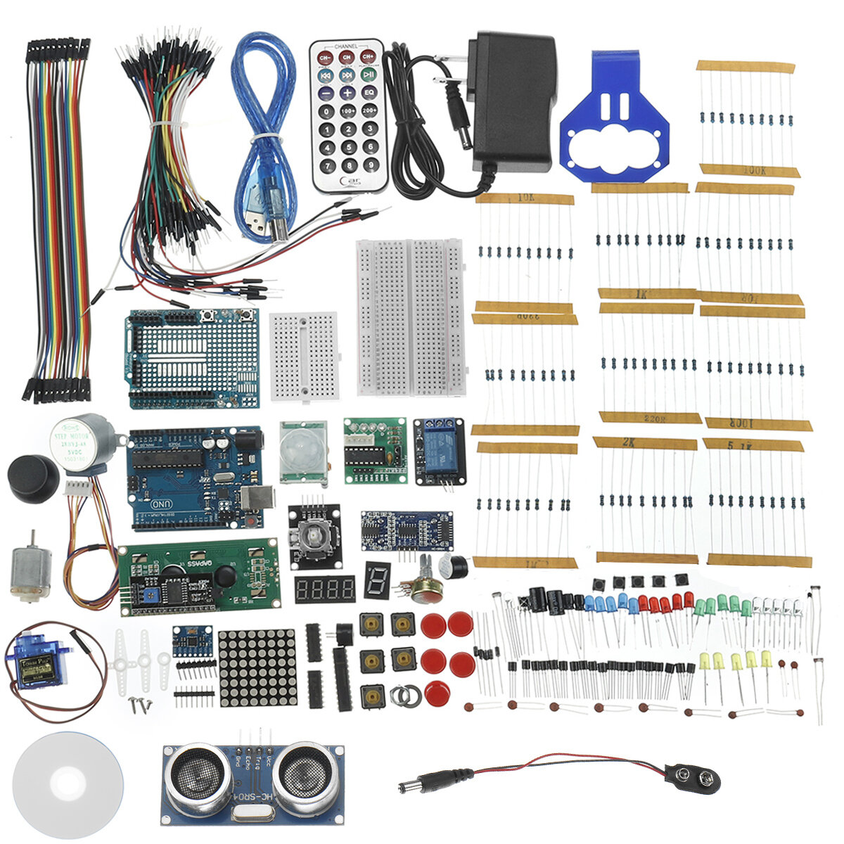 Project Complete Starter Kits For  UNO R3 Mega 2560 Nano w/ Tutorial Power