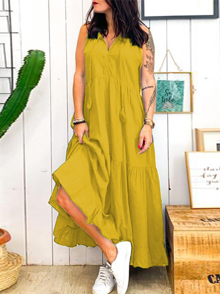 Women Sleeveless V-neck Loose Casual Solid Maxi Dress