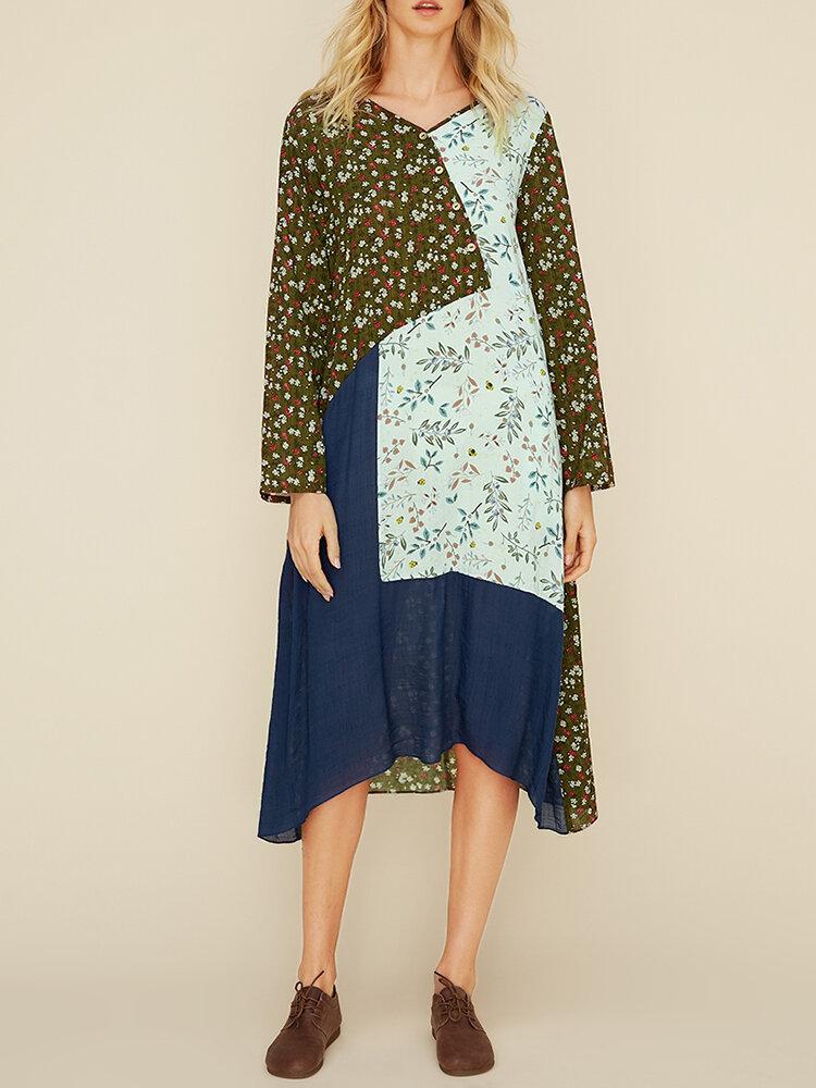 Plus size mulheres patchwork de impressão floral manga longa vestido casual com bolsos
