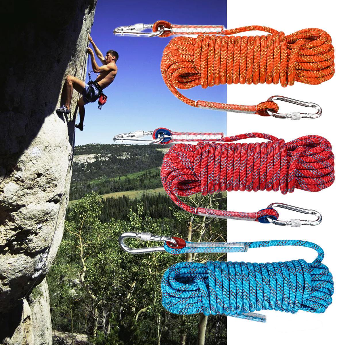 15メートル×10ミリメートルダブルバックルロッククライミングロープアウトドアスポーツ登山クライミングダウンヒル安全ロープ