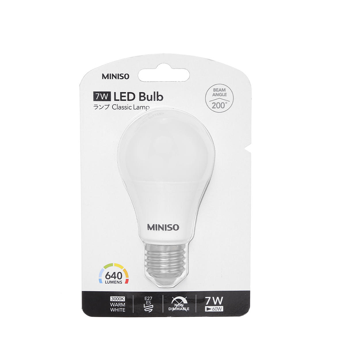 MINISO LA27W7W64 E27 A60 Warm White 7W LED Bulb Indoor Lighting For Porch Living Room Home