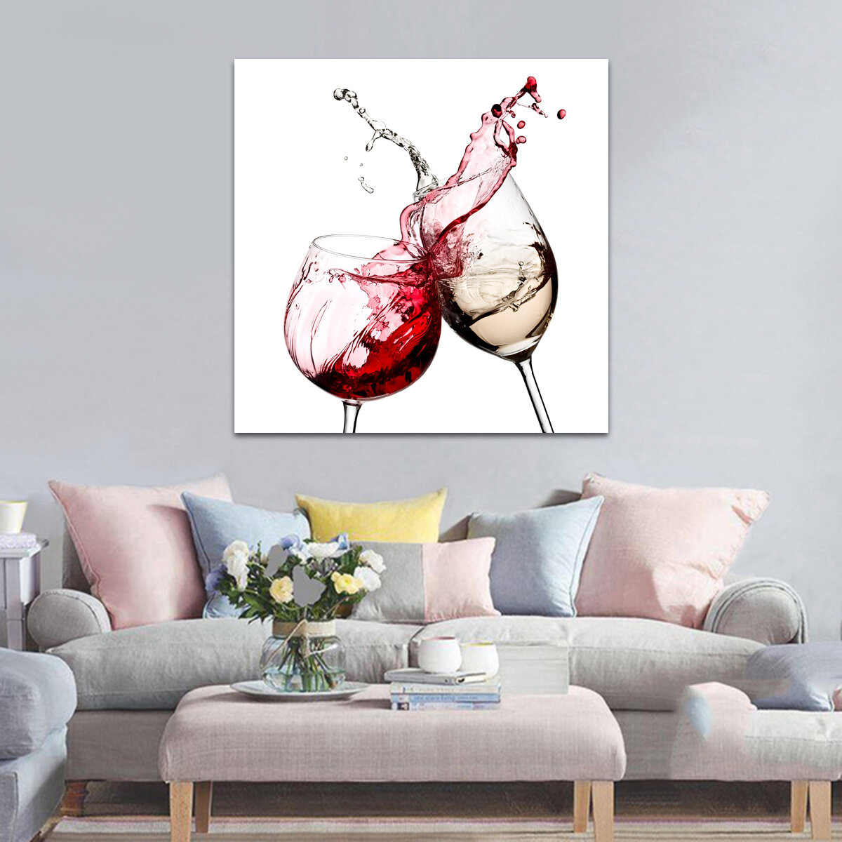 Red White Glasses Kitchen Wall Sticker Art Pictures Wall Art Prints Unframed