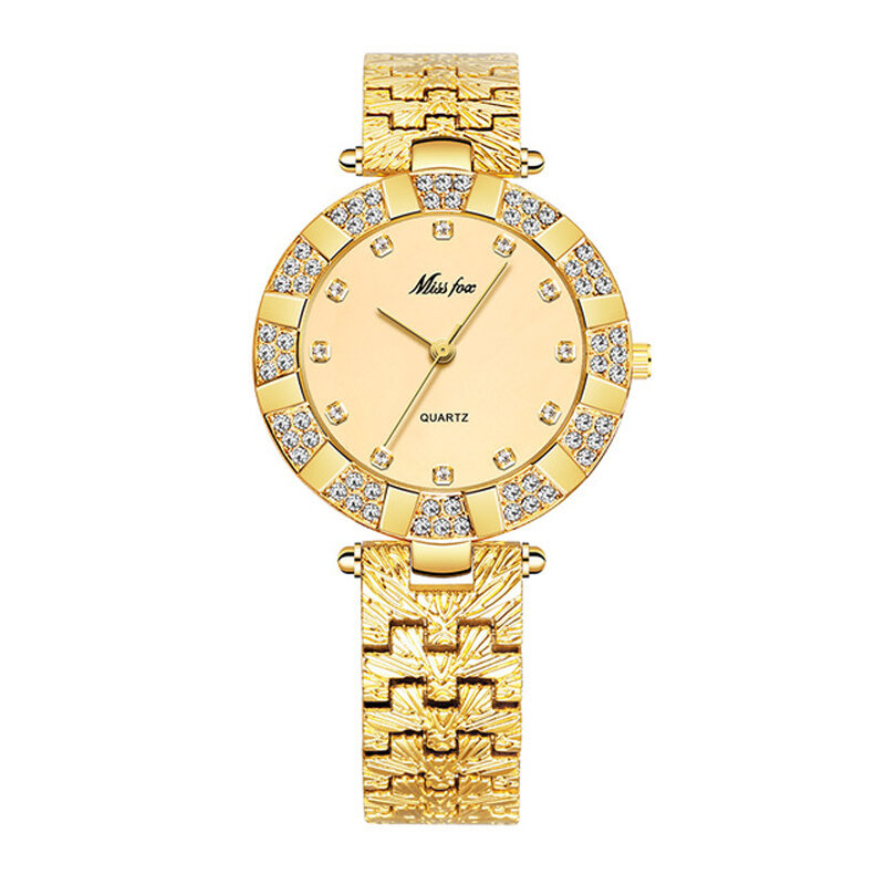 MISSFOX 2062 Fashion Women Watch Light Luxury Diamond Stainless Steel Strap Quartz Watch