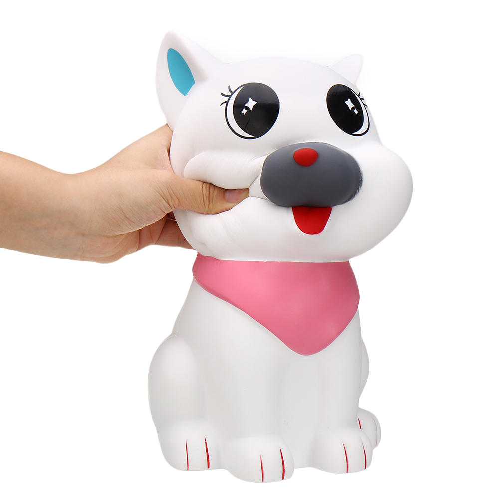29cm Giant White Scarf Dog Squishy Slow Rebound Decompression Simulation Toy with Bag Packaging