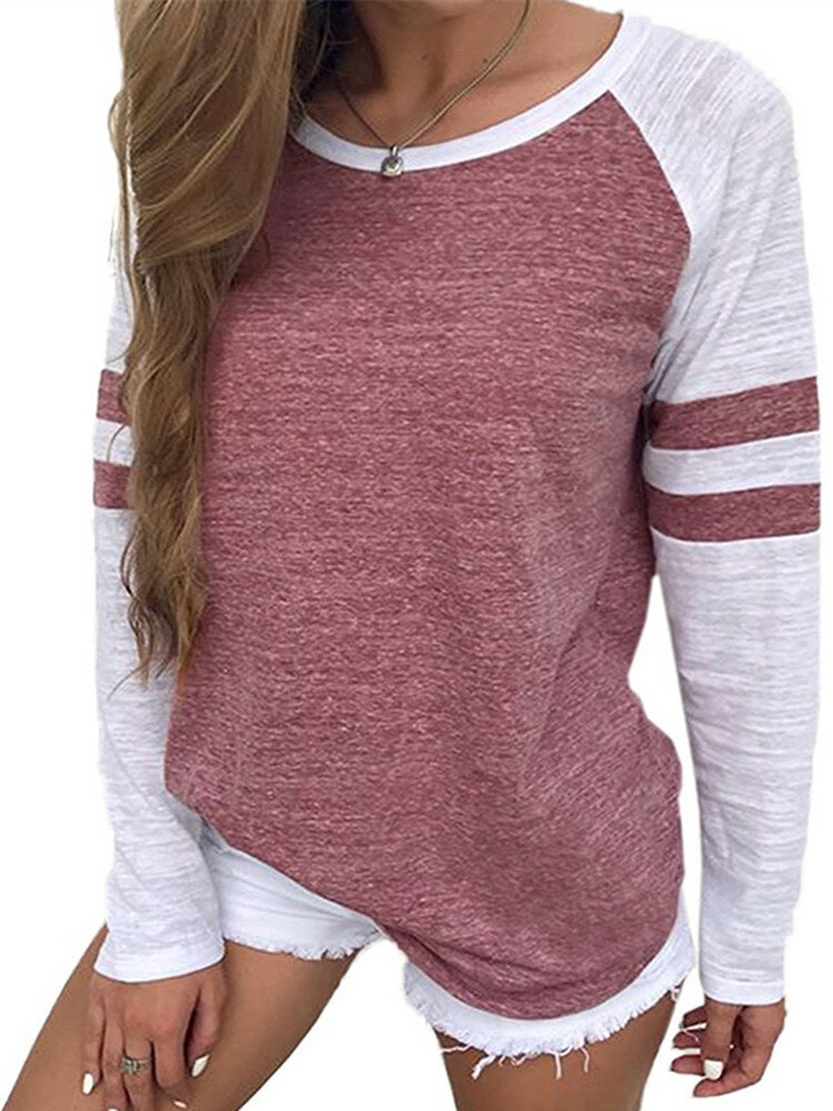 Long Sleeved Striped Patchwork Tops Loose Causal Tee Shirts For Women