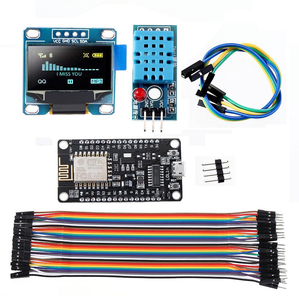 WiFi ESP8266 Starter Kit IoT NoMCU Wireless I2C Display OLED DHT11 Umidade de temperatura Sensor Módulo Geekcreit para Arduino - produtos que funcionam com placas Arduino oficiais