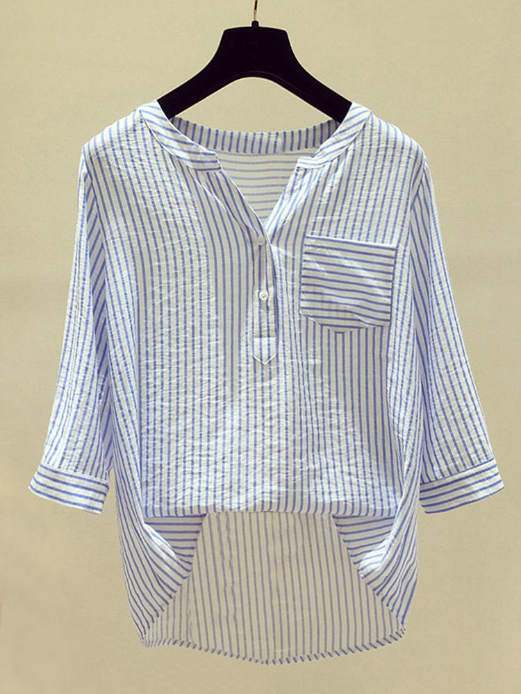 Irregular Stripe 3/4 Sleeve Pocket Casual Blouse For Women