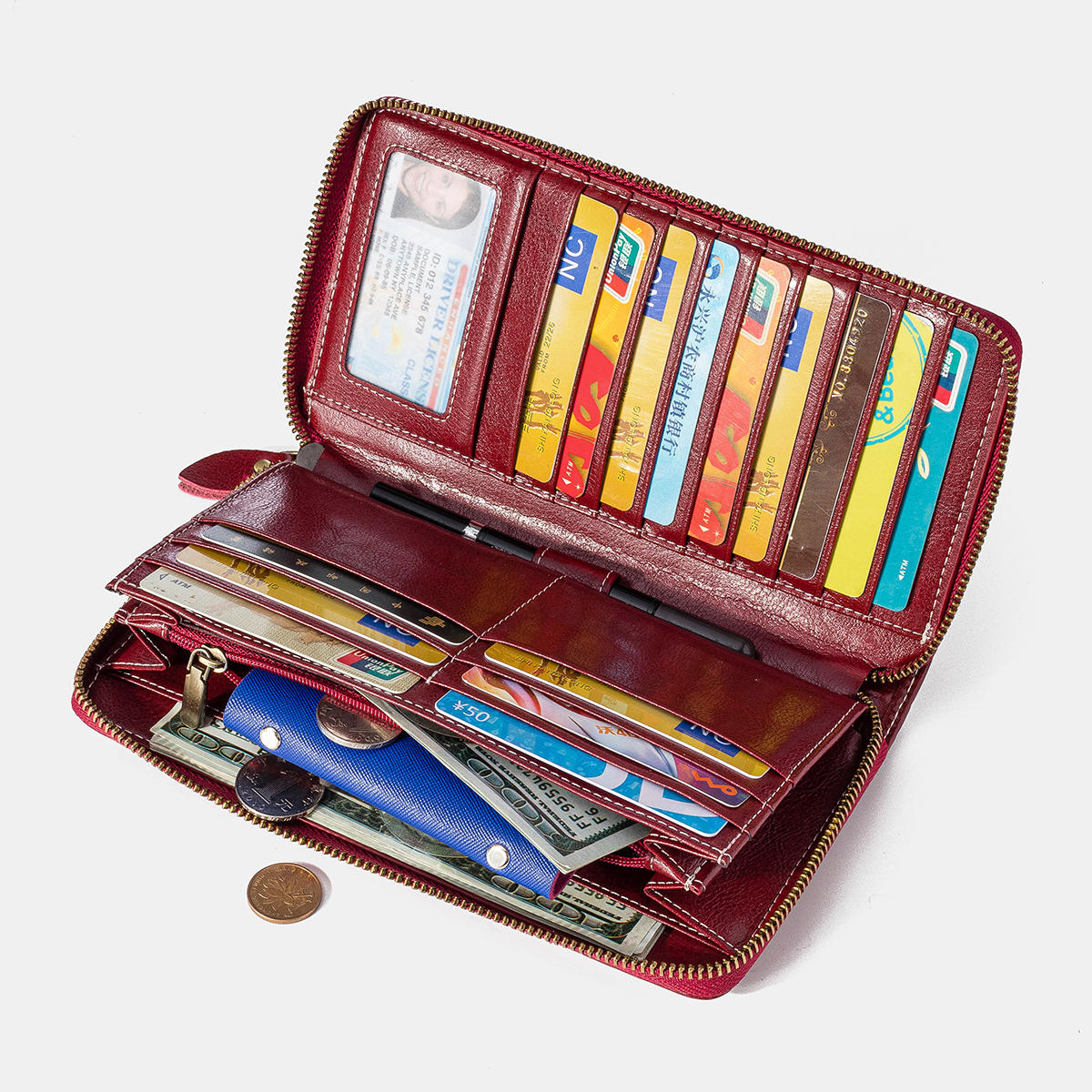 Women Rfid Antimagnetic Genuine Leather Zipper Wallet Multi-layer Card Holder Phone Bag Purse
