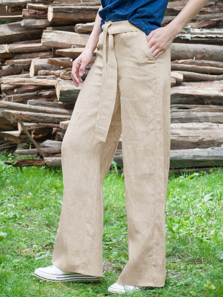 Causal Loose Solid Color Elastic Waist Wide Leg Pants For Women