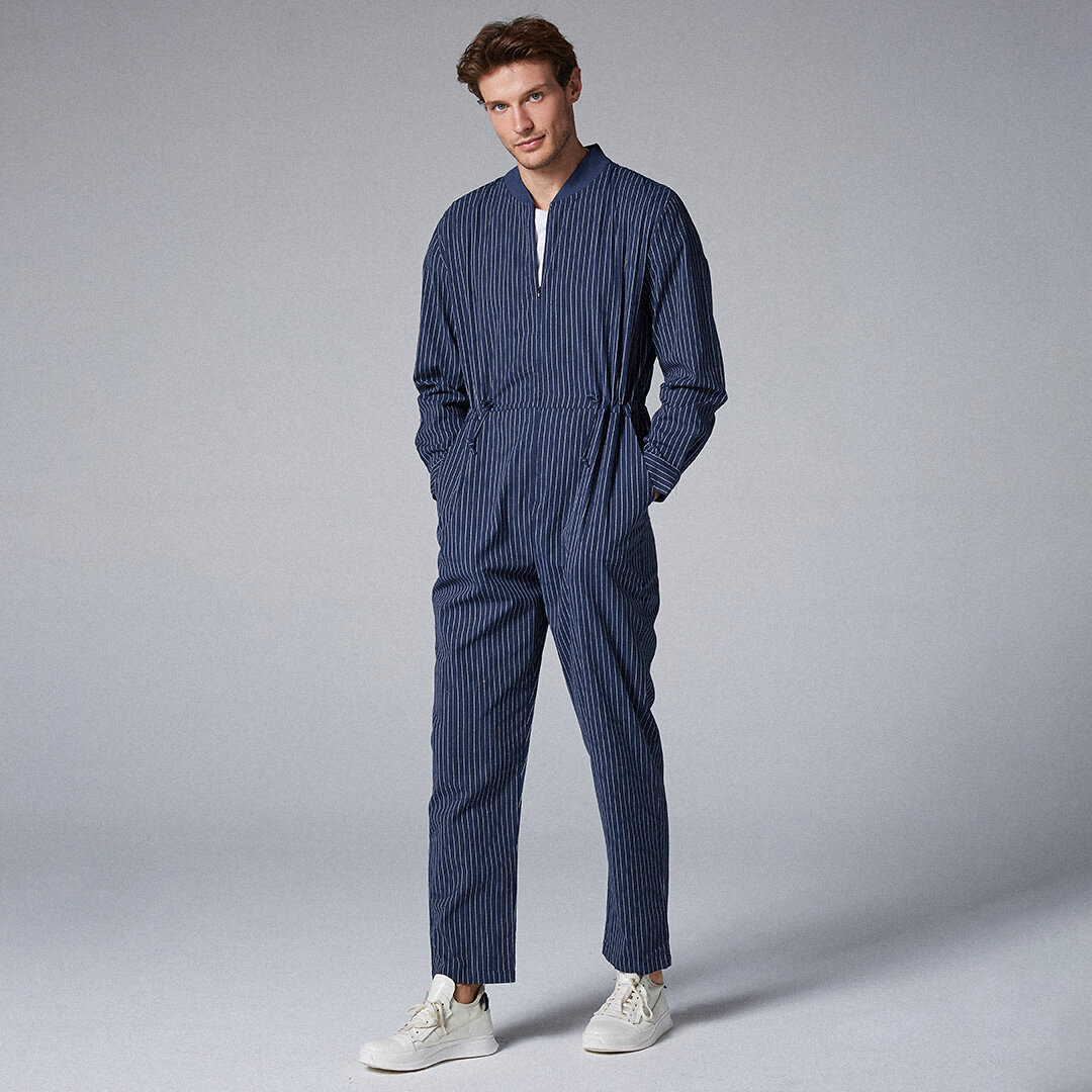 Mens Cotton Stripe Stehkragen Onesies Taschen Casual Straight Jumpsuit
