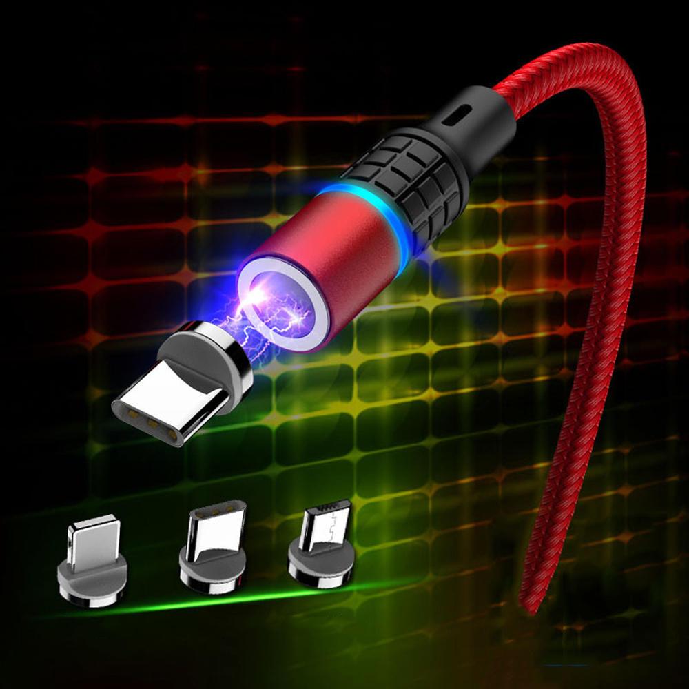 Marjay 3A Type C Indicador micro USB LED Cabo de dados de carregamento rápido magnético para Huawei P30 Pro Mate 30 Xiaomi Mi9 Redmi 7A Redmi 6Pro 9Pro S10 + Note10