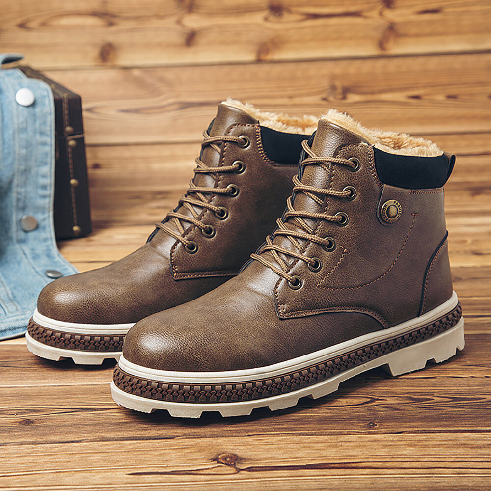 Men Warm Plush Lining Casual Round Toe Soft Sole Business Ankle Boots