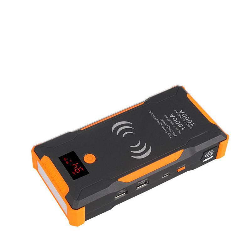 22000mAh Portable Car Jump Starter Peak 1500A Powerbank Quick Wireless Charging Emergency Battery Booster Waterproof with LED Flashlight USB Port
