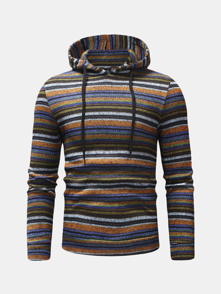 Mens Striped Printing Hoodies National Style Long Sleeve Drawstring Slim Fit Casual Sweatshirts