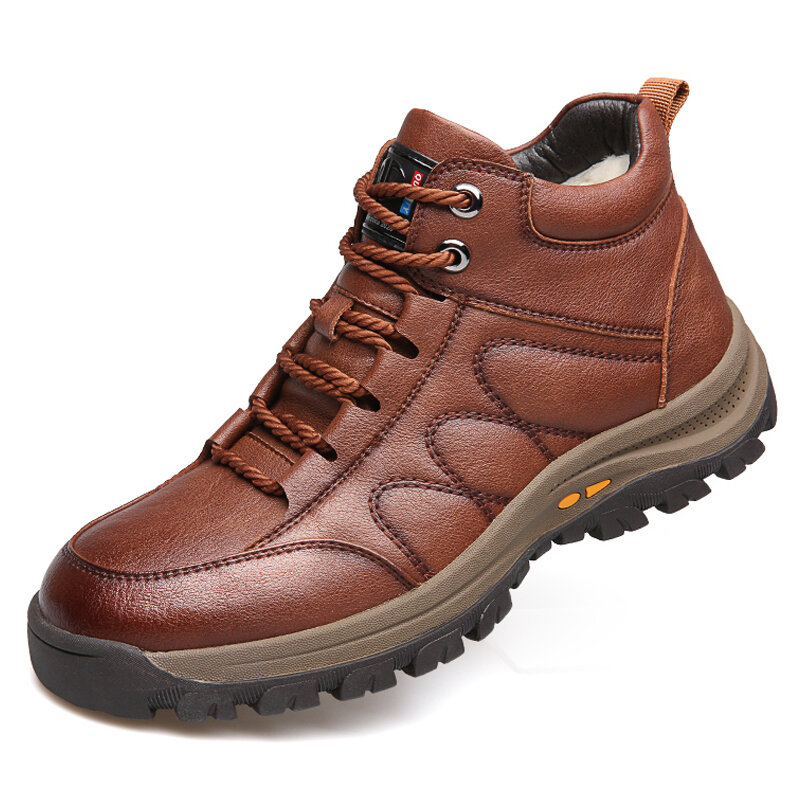 Men Warm Plush Lining Stitching Soft Sole Casual Leather Ankle Boots