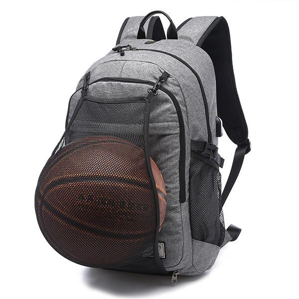 "Homens Canvas Multifunction Sport Bolsa mochila casual 17 ""mochila de basquete com porta de carga USB"