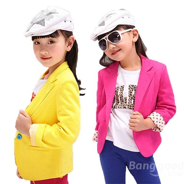 2015 New Baby Girls Candy Colour Suit Jacket Coat Kids Outwear Clothes 3-7Y