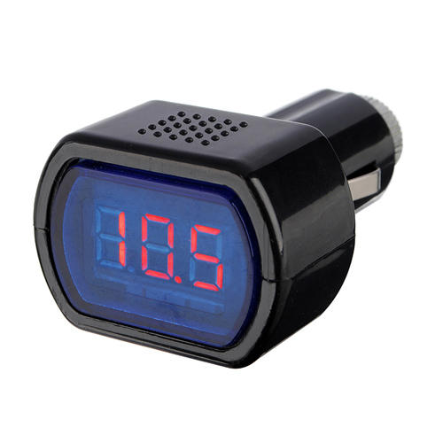 Mini Car LCD Battery Voltage Meter Monitor 12V Black