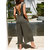Women Cotton Wide Leg Solid Color Sleeveless Backless Jumpsuit