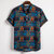 Mens Summer Ethnic Style Printed Turn Down Collar Casual Shirts