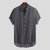Mens Summer Striped Buttons Fly Breathable Short Sleeve Casual Henley Shirts