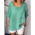 Short Sleeve Casual V-neck Solid Color Blouse