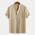 Men's Solid Color Pocket Summer Casual Stand Collar Shirts