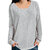 Solid Crew Neck Long Sleeve Casual Blouse