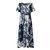 Mulheres manga curta O pescoço Retro Floral Print Maxi Dress