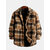 Vintage Mens Plaid Berber Fleece Double Pockets Thickened Warm Casual Coats
