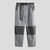 Mens Fashion Patchwork Buttons Pockets Drawstring Straight Casual Pants