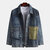 Mens Denim Double Big Pockets Turn Down Collar Thick Casual Jacket