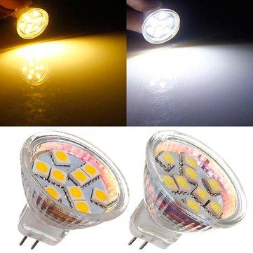 MR11 1,5W 9 SMD 5050 Branco quente / branco AC / DC 12V LED Spotlightt Bulb