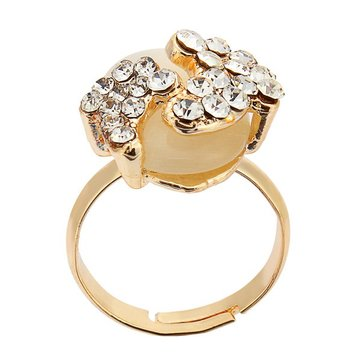 Gold Plated Lovely Crystal Little Feet Alloy Opal Rings For Women