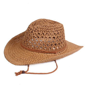 Men Women Summer Outdoor Handmade Straw Hat Breathable Mesh Wide Brim Sunshade Hat