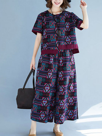 Vintage Women Cotton Folk Style Printed Wide Leg Pants Suit