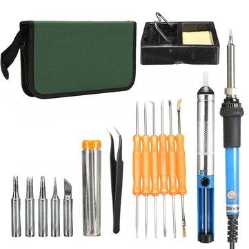 60w регулируемый электропривод 200 ~ 450 ℃ Температура комплект паяльник набор инструментов нам штекер / вилка Великобритании