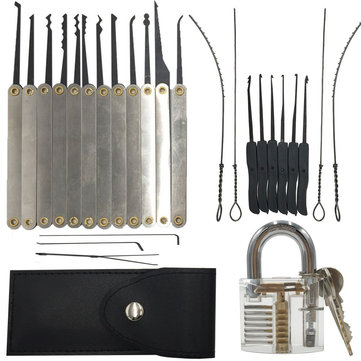 DANIU 12pcs Unlocking Lock Pick Set + 10pcs Key Extractor Set +1pc Transparent Practice Padlock