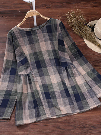 Casual Women Plaid Long Sleeve O-Neck Cotton Blouse