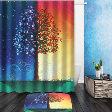 Day & Night Tree Shower Curtain Liner Bathroom Mat Set w/ Hooks Polyester Fabric