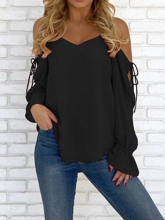 Sexy Women V-Neck Chiffon Pure Color Flared Sleeve Strap Blouse