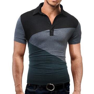 Golf manica corta da uomo con cuciture colorate di moda da uomo Camicia Top con colletto rovesciato per il tempo libero