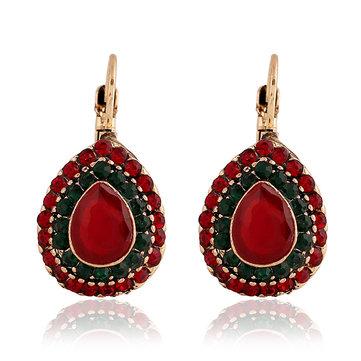 Bohemien rode kristal oorbellen Retro Water Drop oor Drop Rhinestone Earring voor vrouwen
